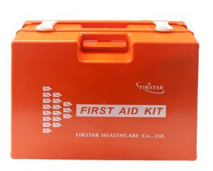 An orange first aid kit by Dels Apparel